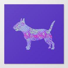 Bull Terrier Dog Vintage Floral Pattern Purple Violet Lilac Hot Pink Mint Canvas Print