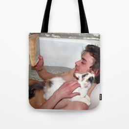 Cat in bathroom Tote Bag