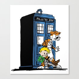 calvin and hobbes police box in action Canvas Print