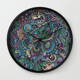 Doodle Female lifestyle Wall Clock