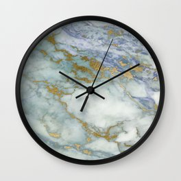 marble blue gold Wall Clock