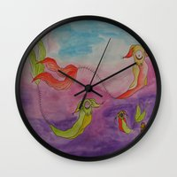 swimming Wall Clocks featuring Swimming by Esmeralda Snaphaan