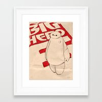 baymax Framed Art Prints featuring Baymax by Even In Death