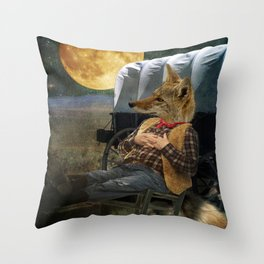 Tom Coyote in Deep Thought Throw Pillow