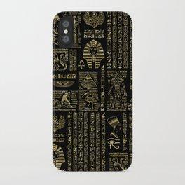 Egyptian hieroglyphs and deities gold on black iPhone Case
