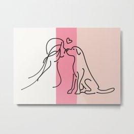 Pet lover line art Metal Print