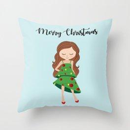 I am a Christmas Girl - Christmas tree inspired Throw Pillow