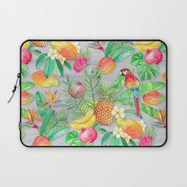 Tropical Paradise Fruit & Parrot Pattern Laptop Sleeve