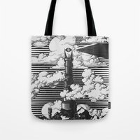 lotr Tote Bags featuring Lord of the Rings Mordor Tower Vintage Geek Art by Barrett Biggers