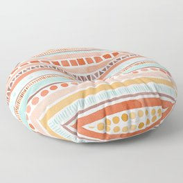 Boho Stripes - Watercolour pattern in rusts, turquoise & mustard. Nursery print Floor Pillow