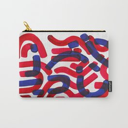 Mid Century Modern Abstract Colorful Unique Alien Pattern Shapes Burgundy Blue Alien Symbols Carry-All Pouch