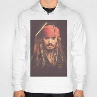 jack sparrow Hoodies featuring Jack Sparrow Digital Painting by Visionary Sea