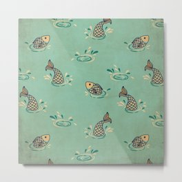 Jumping Fish on Aqua - Kitschy Fish in Mid Century Style Metal Print