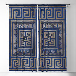 Greek Key Ornament - Greek Meander -gold on blue Blackout Curtain