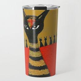Morocco Gold Whimsical Cats Travel Mug