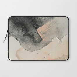 Peace and Quiet [2]: a pretty, minimal abstract piece in gray and peach by Alyssa Hamilton Art Laptop Sleeve