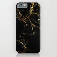 Golden Marble - Black and gold marble pattern, textured design iPhone 6 Slim Case