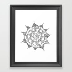 Black and White Circle Doodle Framed Art Print
