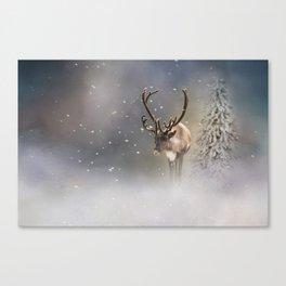 Santa Claus Reindeer in the snow Canvas Print