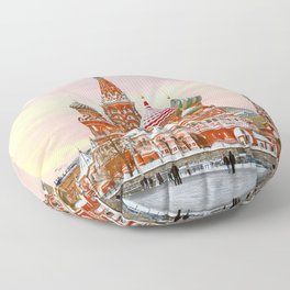 Snowy St. Basil's Cathedral Floor Pillow