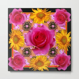 Fuchsia Pink Rose Patterns Sunflower Floral Black Art Metal Print