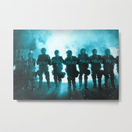 Riot Police Line - Light Blue Cast Metal Print