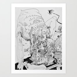 Creatures fuse on an unknown planet Art Print