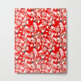 Floral Burst in Red Metal Print