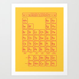 Periodic Table of Burger Elements - Yellow Art Print