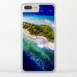 Aerial Tropical Island Boats Clear iPhone Case