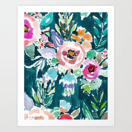 EFFUSIVE FLORAL Dark & Colorful Boho Pattern Art Print