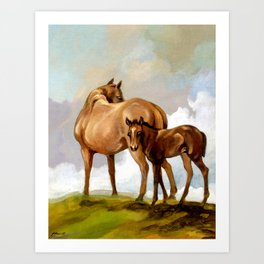 Thoroughbred Mare and Foal Art Print