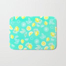 Modern summer bright yellow green lemon fruits watercolor illustration pattern on mint green Bath Mat