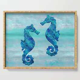 Blue Seahorse Couple Underwater Serving Tray