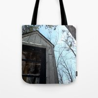 fallout Tote Bags featuring Grizzly Fallout by Keeto