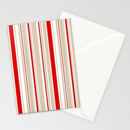 Nautical Red and White Stripe Stationery Cards