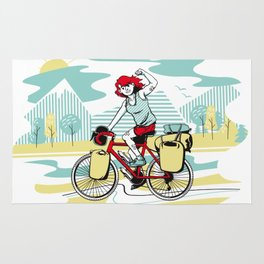Cycling Girl Rug