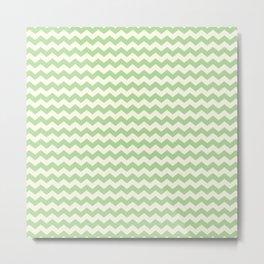 Summer Chevron Pattern in Green & Cream Metal Print