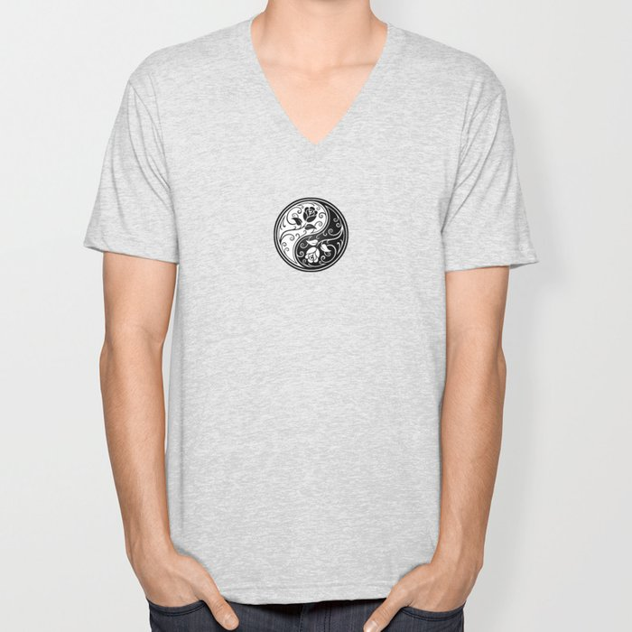 Black and White Yin Yang Roses Unisex V-Neck