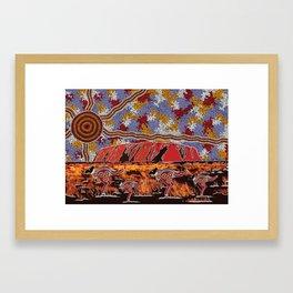 Uluru (Ayers Rock) Authentic Aboriginal Art Framed Art Print