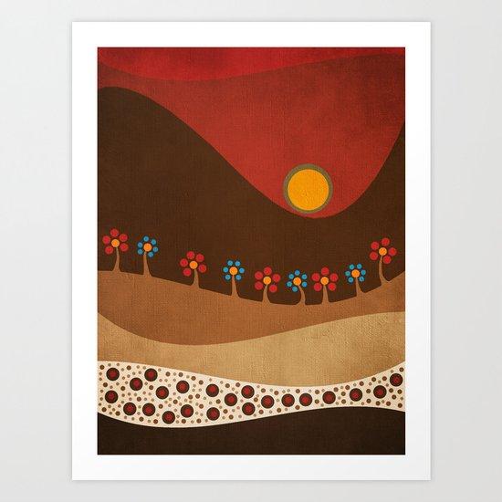 Circular landscape & flowers Art Print