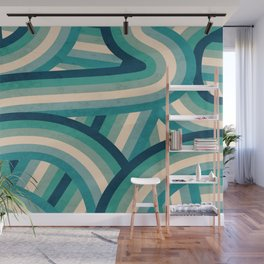 Teal Vintage Faded 70's Style Rainbow Stripes Wall Mural