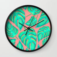 palms Wall Clocks featuring Palms by Anika Kirk