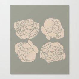 Greenery Flower Minimalist Neutral Canvas Print