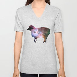 Psychedelic Sheep of the Family (2) Unisex V-Neck