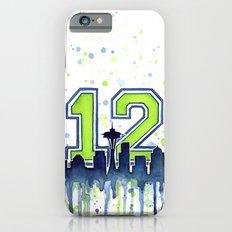 Seattle 12th Man Art Skyline Watercolor Slim Case iPhone 6