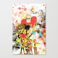 pixar Canvas Prints featuring Disney Pixar Play Parade - Incredibles Unit by Joey Noble