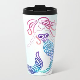 Tribal Mermaid with Ombre Turquoise Background Metal Travel Mug
