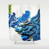 tooth Shower Curtains featuring Blue Tooth by Santiago & James