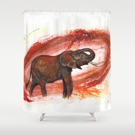 African Elephant Having a Mud Shower Shower Curtain